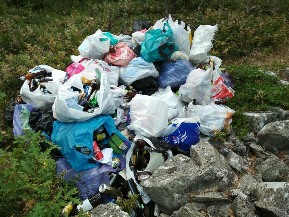 Фотофакт: Солнечная тропа в Ялте снова завалена мусором, фото-1